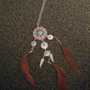 Jewelry - Silver Indian feather necklace